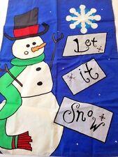 "Decorative garden flag indoor outdoor 2-sided Snowman ""Let it Snow"" 27"" X 38"""