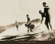 SURFING ART PRINT Tom & Crew, Diamond Head by Tom Blake 26x32 Surfer Wave Poster