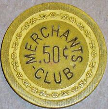 New listing Old Merchants Club Illegal Casino Poker Chip Vintage Antique Flower Mold 1940s