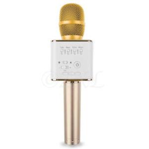 Q9 Mini Wireless Bluetooth Karaoke Microphone Speaker Home KTV USB Player Gold