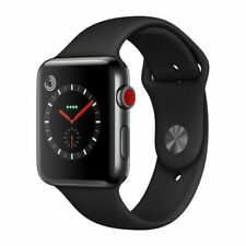 Reloj de Apple serie 3 38mm Gps + Celular-negro espacial-Banda Negra Sport