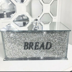 Silver Crushed Diamond Crystal Mirrored Bread Bin Container Kitchen Bling Gift
