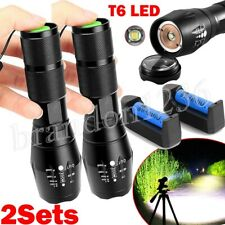 2pc15000lm Tactical T6 LED Flashlight Torch Rechargeable 18650 Battery&charger