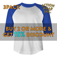 3 PACK SHAKA PLAIN RAGLAN TEE CASUAL 3/4 SLEEVE BASEBALL T SHIRT SPORTS JERSEY