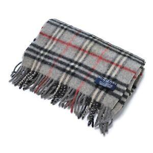 Burberry London Gray Nova Check Plaid 100% Wool Scarf  166 x 25 cm 65 x 10 inch