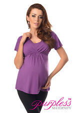 Comfortable 2in1 Maternity and Nursing Top Tunic Size 8 10 12 14 16 18 7042 Violet UK 12
