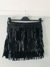 H&M Faux Leather Mini Skirt With Tassels Size 12 Trendy