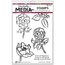 New Wakley RANGER rubber stamp SCRIBBLY FLOWERS Cling Set FREE US SHIP