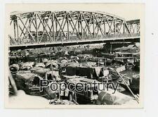 WW2 China Photograph 1945 Shanghai Garden Bridge Junks Sampans Waterfront Photo