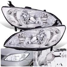 Chrome Housing Clear Lens Reflector Headlight Lamp For 04 05 Civic EM2 ES1 ES2