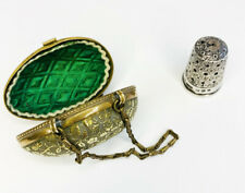 More details for delightful victorian egg shaped thimble holder & solid silver thimble c1880