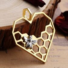 2x Golden and Silver Tone Heart Bee nid d'abeille Charms Pendentifs 41 mm TSC17
