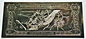 Queen of the Night Cactus - 1981 Antigua & Barbuda $30 Gold Banknote - 23k