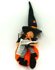 "ANNALEE DOLLS 7"" HALLOWEEN ""WITCH KID ON PUMPKIN"" DECORATION SPELLBOOK WAND"