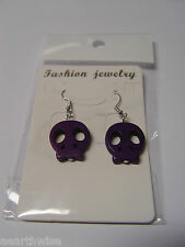 1xPAIR SKULL EARRINGS Wicca Witch SAMHAIN HALLOWEEN Pagan Goth SYNTHETIC HOWLITE