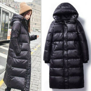 Women Glossy coat Down cotton jacket Ladies Over-knee hooded puffer Outwear