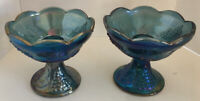 Pair Vintage Blue Carnival Glass Candle Holders HARVEST GRAPE Indiana Iridescent