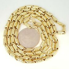 """New 10K yellow gold 3.5mm Greek key bullet chain Necklace 16.80 Grams 30"""" Long"""