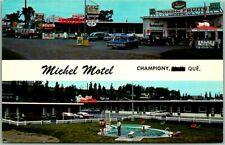 Champigny, Quebec Canada Postcard MICHEL MOTEL Pool / Restaurant View c1960s