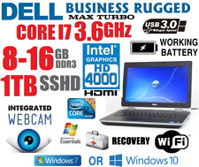 DELL LAPTOP BUSINESS RUGGED CORE I7 TURBO 3.6GHZ NOTEBOOK USB3 WIFI SSHD CAMERA