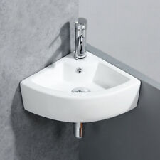 New listing Corner Bathroom Ceramic Vessel Sink Porcelain Wall Mounted with Faucet Combo Set