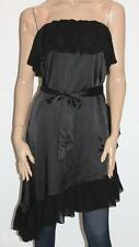 body&soul Designer Black Silky Chiffon Frilly Strapless Dress Size S BNWT #sQ57