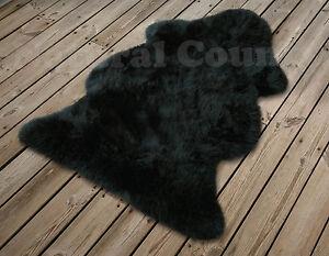 Australisches Merino Lammfell schwarz waschbar Schaffell Teppich