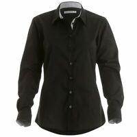 Ladies New BLACK Work office Shirt Long Sleeve Oxford shirt Kustom Kit KK790