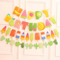 EE_ SUMMER THEME FRUIT CACTUS ICE CREAM HAPPY BIRTHDAY PARTY BANNER SIGN FLAGS