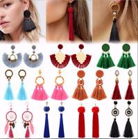 Vintage Women Fashion Bohemian Tassel Fringe Dangle Ear Stud Earrings Jewelry