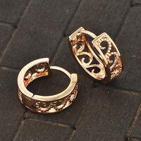baby girls Flower hoop earrings crystal 14K Yellow gold filled earings