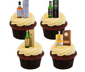 Whisky Lover Edible Cupcake Toppers - Stand-up Fairy Cake Decorations, Men