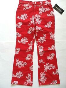 Xhilaration Girls Relaxed Flare Pants, Red/White, Size: 10