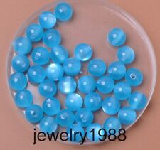 50pcs Sky blue Acrylic Cat's Eye Charm Round Spacer Beads 8mm Jewelry Findings