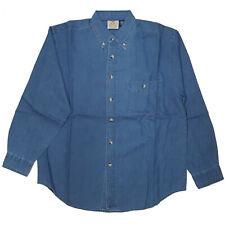Mens Long Sleeve Pointed Collar Button Down 100% Cotton Blue Denim Shirt, Medium