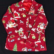 Nick & Nora Flannel Pajama TOP PJ Christmas Santa Claus Fireplace Sz XSmall XS