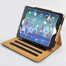BLACK & TAN LEATHER CASE SMART COVER FOR APPLE IPAD AIR 2 & SCREEN PROTECTOR