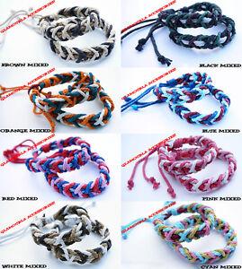Unisex 2mm Waxed Cotton Cord Handmade Friendship Wrap Bracelet Wristband Surfer
