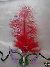 Purple Eye Feathwer Mask Fancy Dress Nighjt Party Red