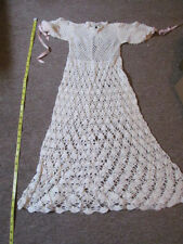 Vintage 1970s Baby Girl Hand Crocheted Christening Dress and Hat  0 - 3 Mths