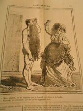 Caricature 1871 - Homme grande Barbe On ne suprpime que le bonnet tablier Hache