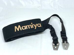 [NEAR MINT] Mamiya Neck Strap Black Gold Logo For RZ67 PRO RB67 From JAPAN #784