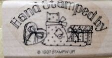 NEW 1997 Stampin Up! Hand Stamped By Mounted Rubber Stamp Cat Chocolate