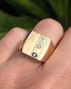 Chunky Vintage 10K Yellow Gold & 3 Diamond Men's Signet Ring Size 11 - 22.7g