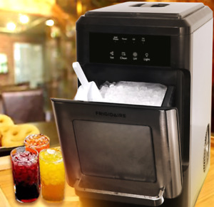 Countertop Ice Maker Nugget Style Machine Chewable Black Silver 44 lbs New