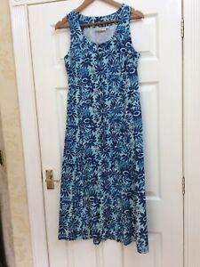 Adini Long Summer Dress Cotton Lined M Medium UK 12 Blue Floral Vgc Sleeveless F
