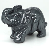 """2"""" Iron Ore Elephant Statue Natural Gemstone Lucky Animals Figurines Ornaments"""