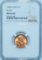 1944 D NGC MS64RD Red DDO FS-101 Double Doubled Die Obverse Lincoln Cent