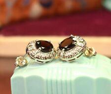 Vintage retro 925 sterling silver natural garnet earrings