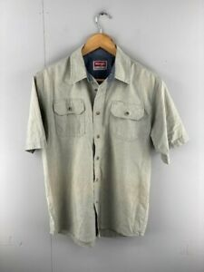 Wrangler Mens Brown Vintage Short Sleeve Dual Pockets Button Up Shirt Size Small